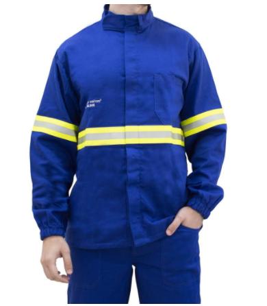 Camisa eletricista NR10 risco 2 azul royal classe 1 e 2 com refletivo verde e prata GGCA 38905