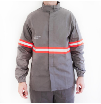 Camisa eletricista NR10 risco 2 cinza claro classe 1 e 2 com refletivo laranja MCA 38905