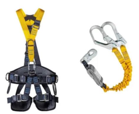 Kit Cinto De Segurança Athenas Paraquedista At 7033 Gre + Talabarte Em Y Elástico Athenas - At 707 Yfe Abs